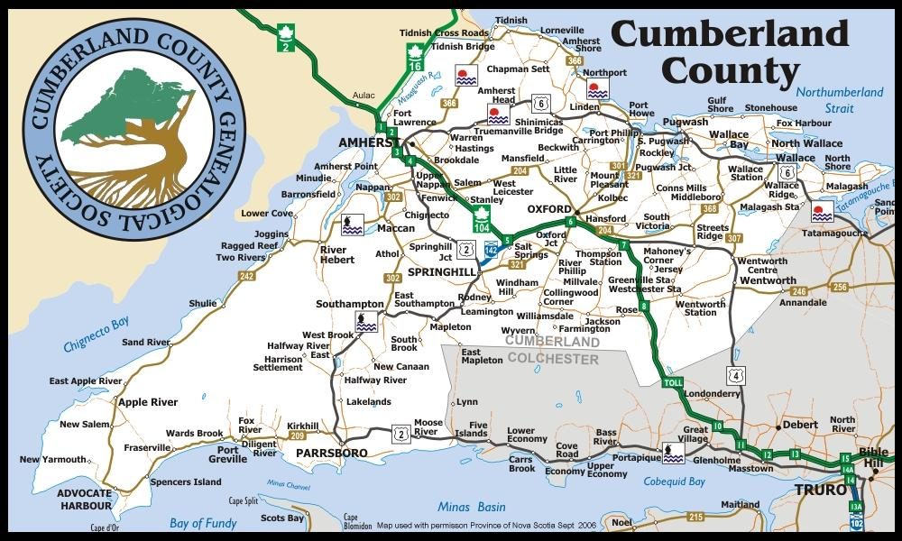 Map Place Names Cumberland County Genealogical Society